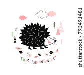 hedgehog walking in the forest  ... | Shutterstock .eps vector #793491481