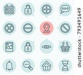 internet icons set with unlock  ... | Shutterstock . vector #793491649