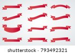 red vintage ribbon collection.... | Shutterstock .eps vector #793492321