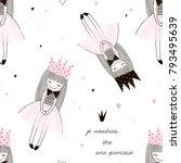 cute little proncess seamless... | Shutterstock .eps vector #793495639