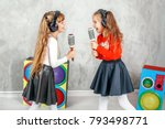 funny kids singing and... | Shutterstock . vector #793498771