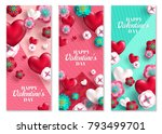 happy valentine's day vertical... | Shutterstock .eps vector #793499701