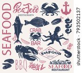 seafood retro card. all... | Shutterstock .eps vector #793502137