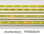 black and yellow stripes set.... | Shutterstock .eps vector #793503019
