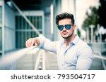one handsome elegant young man...   Shutterstock . vector #793504717