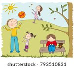 happy children playing outside... | Shutterstock .eps vector #793510831