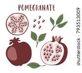 set of whole pomegranate fruit  ... | Shutterstock .eps vector #793513009