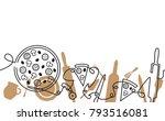 pizza menu background. hand... | Shutterstock .eps vector #793516081