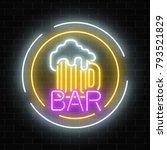 glowing neon beer pub signboard ...   Shutterstock .eps vector #793521829