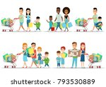 flat happy parents and children ... | Shutterstock .eps vector #793530889