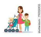 flat family having fun  baby in ...   Shutterstock .eps vector #793530931