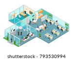 flat isometric office interior... | Shutterstock .eps vector #793530994