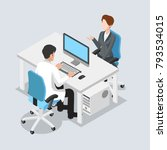 flat isometric male doctor at... | Shutterstock .eps vector #793534015