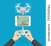 flat style isometric 3d drone... | Shutterstock .eps vector #793534561