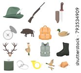 hunting and trophy cartoon... | Shutterstock .eps vector #793534909