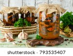 eggplant in a spicy tomato... | Shutterstock . vector #793535407