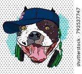 youth print. bulldog in... | Shutterstock .eps vector #793537747