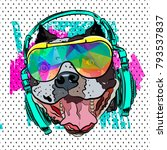 pop art print. steep bulldog... | Shutterstock .eps vector #793537837