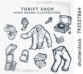 thrift shop hand drawn... | Shutterstock .eps vector #793537864