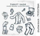 thrift shop hand drawn... | Shutterstock .eps vector #793537864