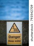 a danger deep water sign beside ... | Shutterstock . vector #793542709