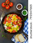 eggs with tomatoes  pepper and...   Shutterstock . vector #793547005