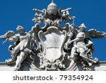 Angel statue in Rome in at fontana trevi - stock photo