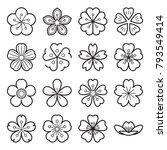 blossom icons. sakura icons.... | Shutterstock .eps vector #793549414