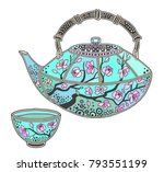 japanese teapot with sakura... | Shutterstock .eps vector #793551199