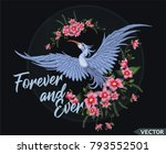 embroidery design  flowers and... | Shutterstock .eps vector #793552501