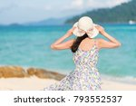 back view of young woman...   Shutterstock . vector #793552537