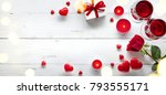 valentine background with red... | Shutterstock . vector #793555171