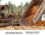 Dump Truck and bulldozer - stock photo