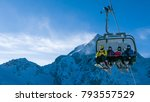 ski holiday   family of skiers... | Shutterstock . vector #793557529