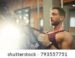 sporty guy at the gym  | Shutterstock . vector #793557751