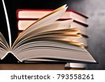 composition with open book on... | Shutterstock . vector #793558261