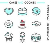 cakes and cookies icon set.... | Shutterstock .eps vector #793558339