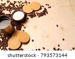 coffee and milk and cookies on... | Shutterstock . vector #793573144