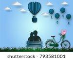 paper art style of balloons... | Shutterstock .eps vector #793581001