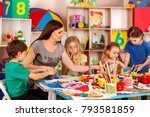children painting craft lesson... | Shutterstock . vector #793581859
