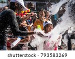 Small photo of Phuket, Thailand - April 13, 2017: Young Songkran festival revelers participate in a massive foam party on Bangla Road in Phuket, Thailand. The Songkran festival celebrates the Thai New Year.