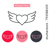 heart wings fly romantic line... | Shutterstock .eps vector #793588105
