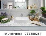 interior of bathroom with sink...   Shutterstock . vector #793588264