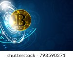 banner with golden bitcoin.... | Shutterstock .eps vector #793590271