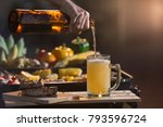 hands holding glasses with beer ... | Shutterstock . vector #793596724