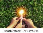 three hand holding light bulb... | Shutterstock . vector #793596841