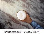 drinking beer alone in bar ... | Shutterstock . vector #793596874