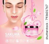 sakura nature cream serum ... | Shutterstock .eps vector #793601767