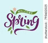 welcome spring text as logotype ... | Shutterstock .eps vector #793602025