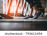 close up on shoe women running... | Shutterstock . vector #793611454